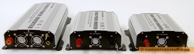 Three GYS pure sine inverters, rear view