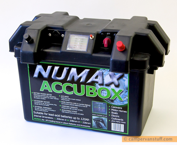 Numax Accubox showing external terminals, accessory socket and battery meter