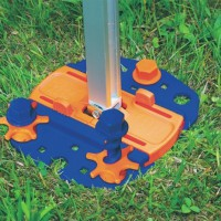 Plates shown with awning leg clipped in. The sliding plate clamp accommodates most common types of leg bases.